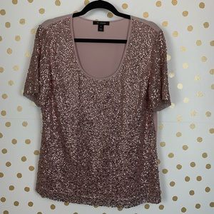 St John Pink Sequin Silk Blouse
